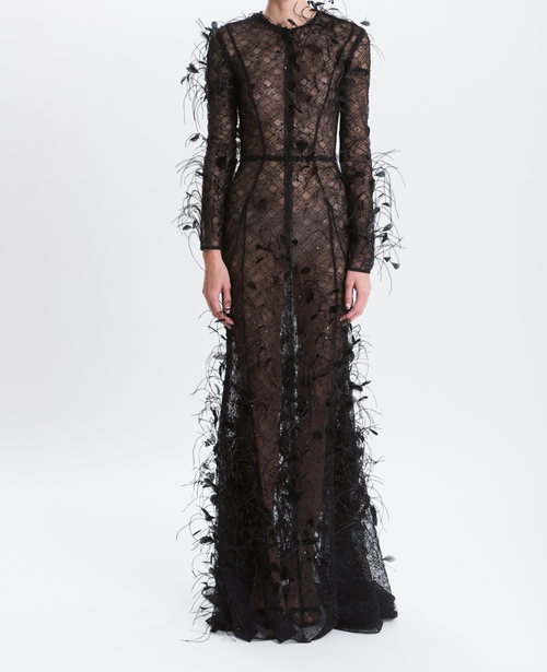 Noir Eyelash Lace Embroidered Ostrich Feather Gown