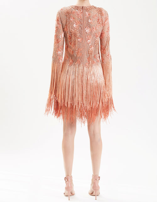 Blush Embroidered Cocktail Dress With Fringe Sleeve & Skirt