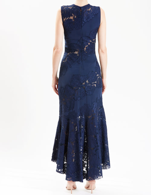 Pre-Order Midnight Sleeveless Cocktail Dress With Lace Insets