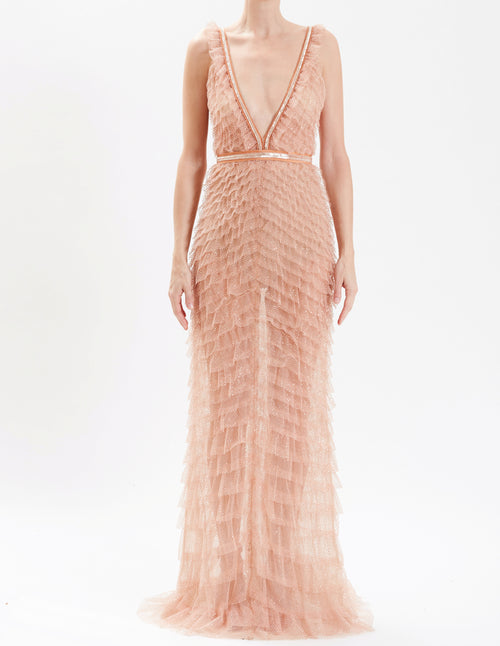 Blush Tulle V-Neck Fully Embroidered Gown