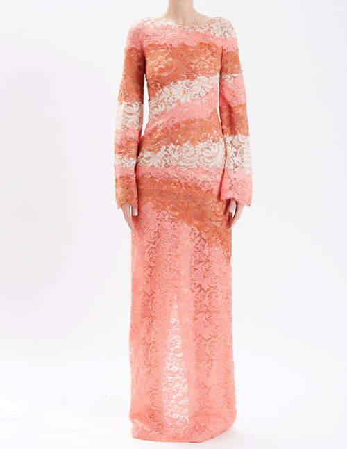 Multi-Color Lace Long Sleeve Gown