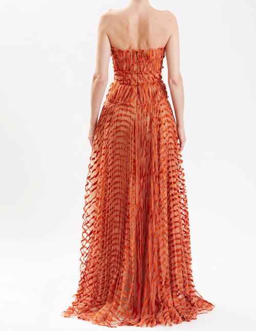 Persimmon Linear Pleated Strapless Gown