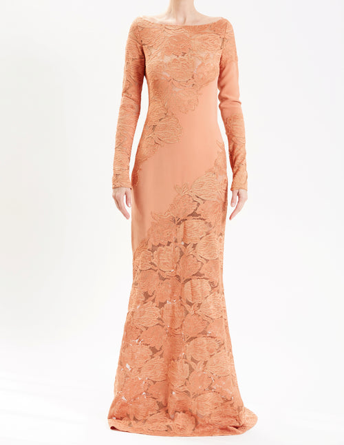 Terracotta Long Sleeve Gown With Lace Insets