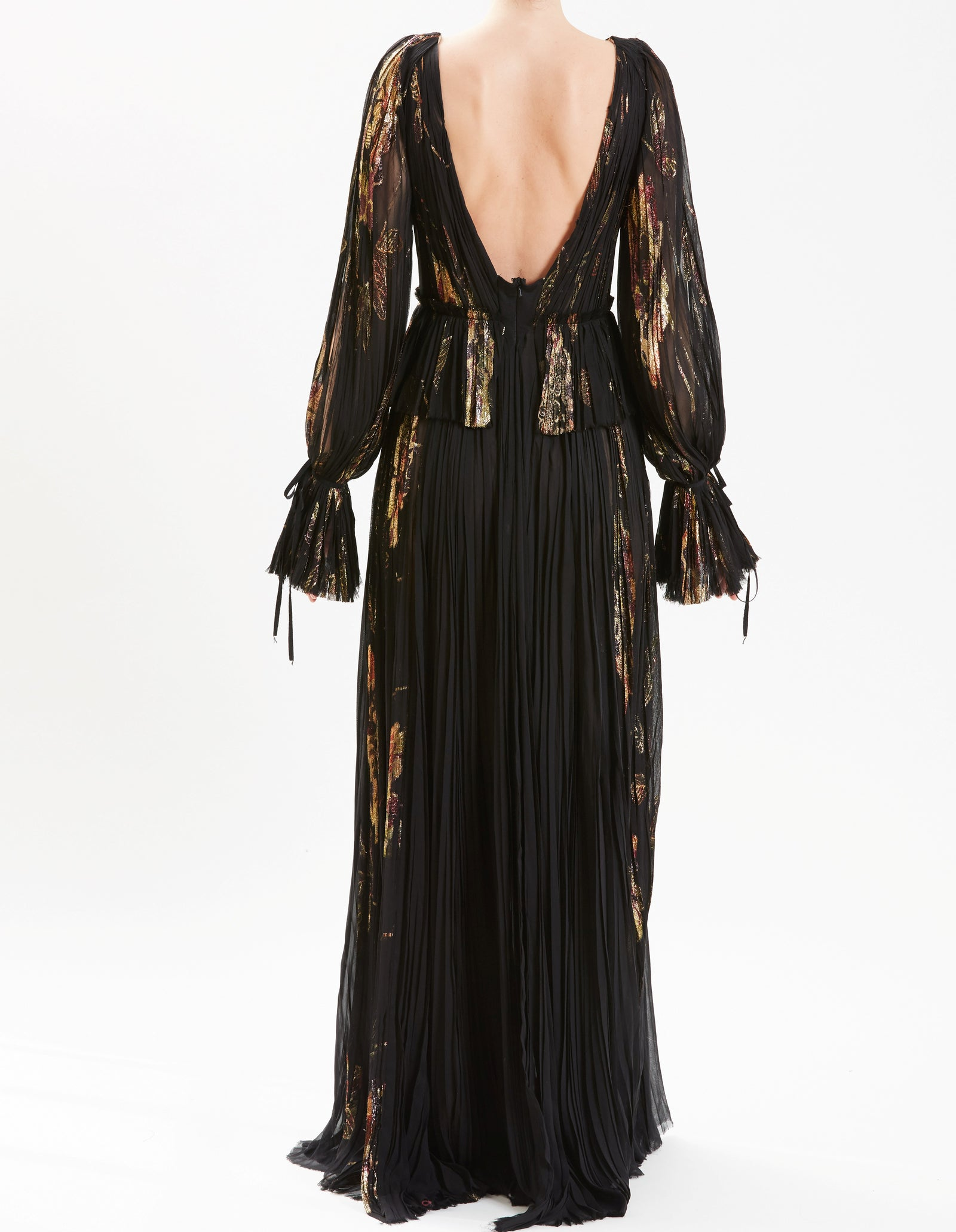 Black and Gold V-Neck Hand-Pleated Fil Coupe Gown