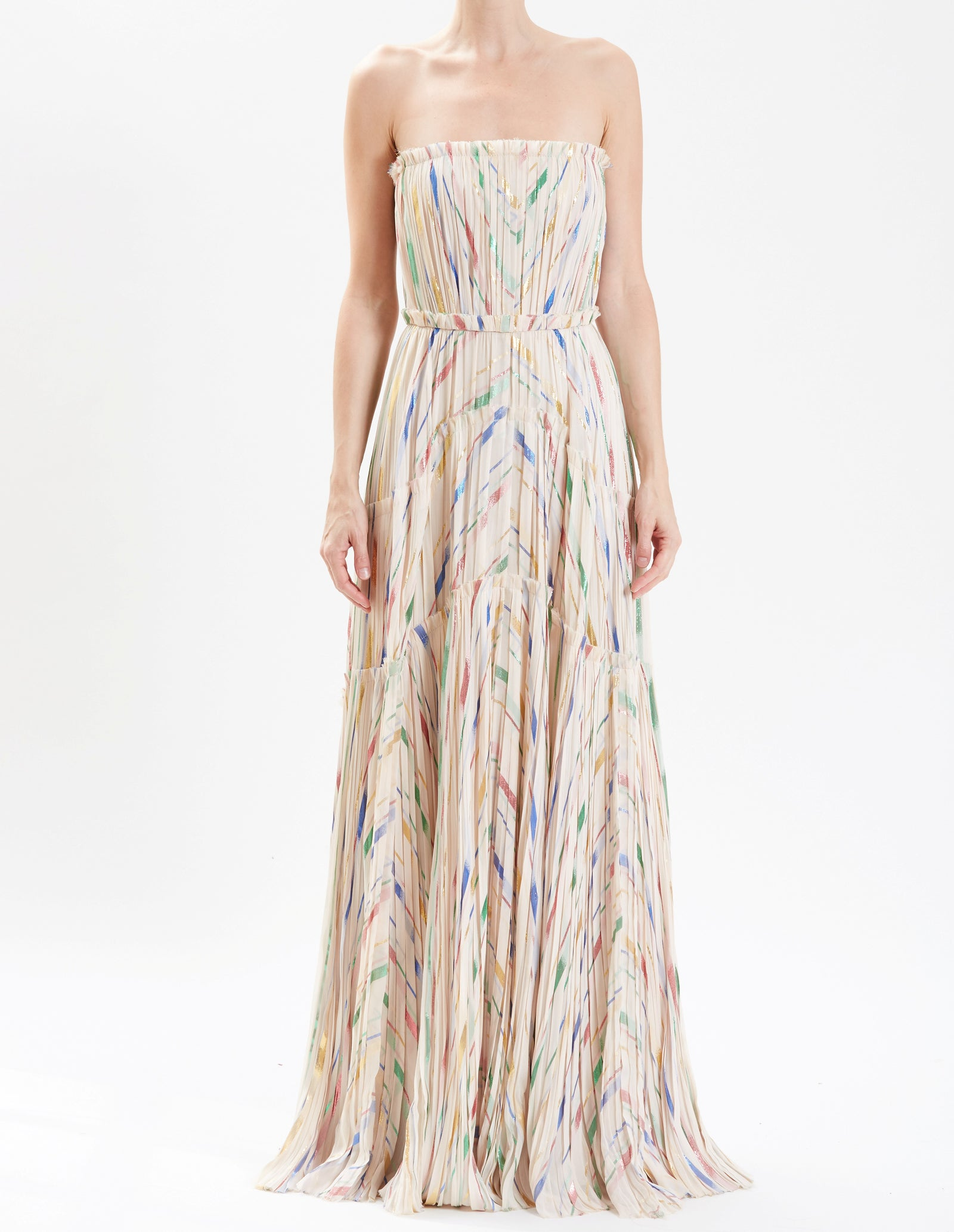 Almond Strapless Silk Chiffon Hand-Pleated Gown