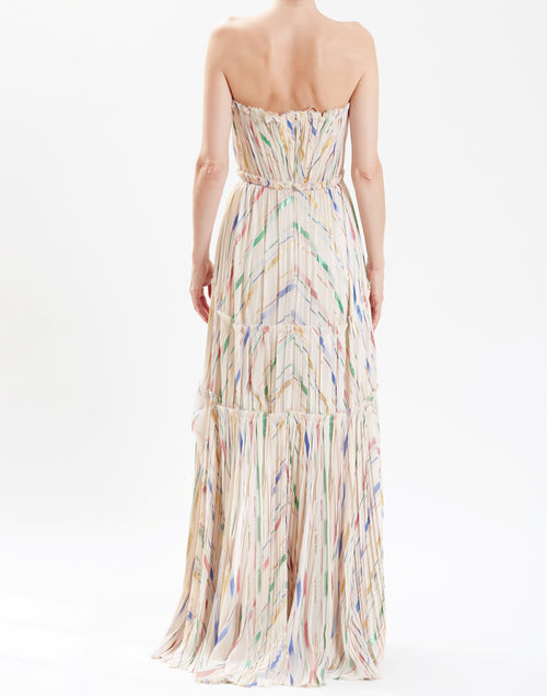 ca01f66a70db J Mendel Almond Strapless Silk Chiffon Hand-Pleated Gown