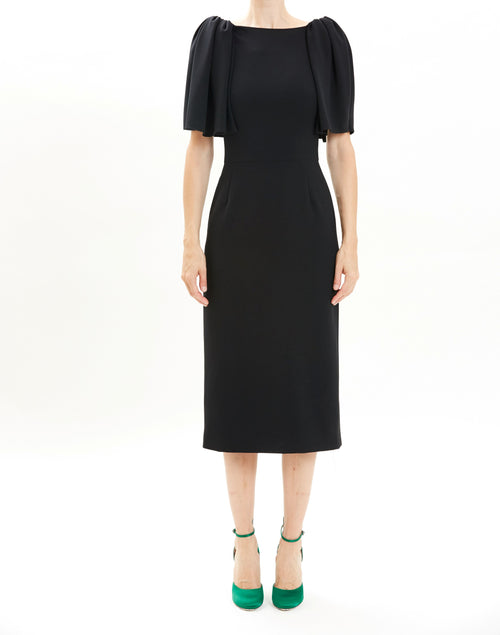 Black Crepe Flutter Sleeve Cocktail Dress