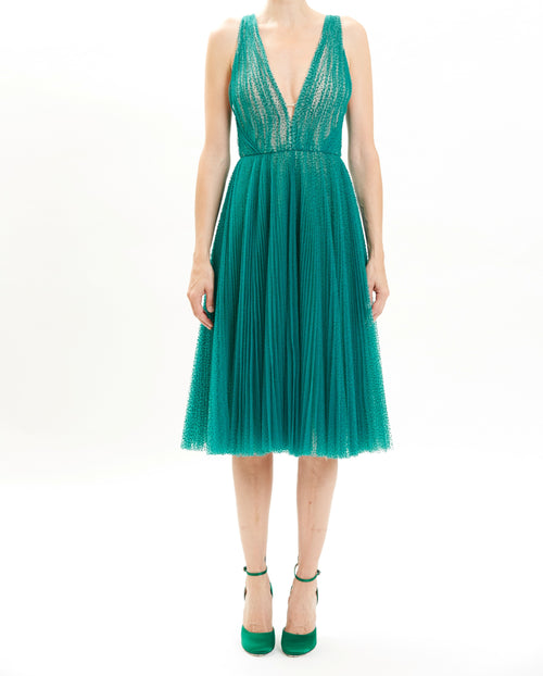 Sea Swiss Dot Pleated Cocktail Dress