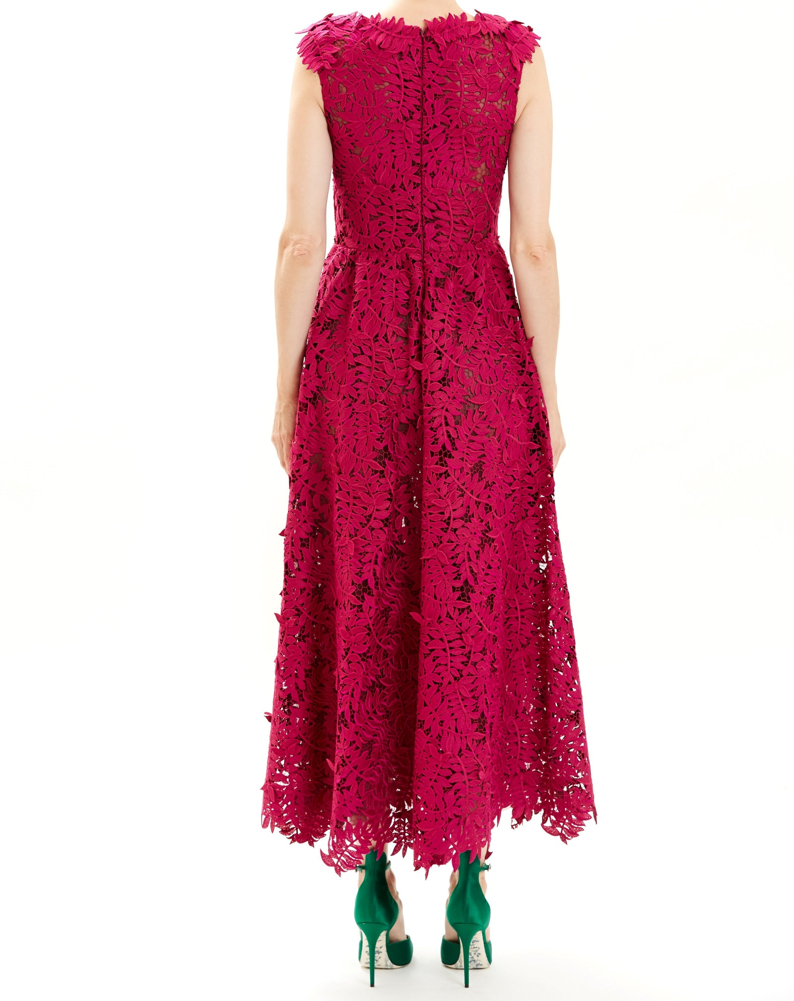 Fuschia Sleeveless Guipure Lace Midi Dress