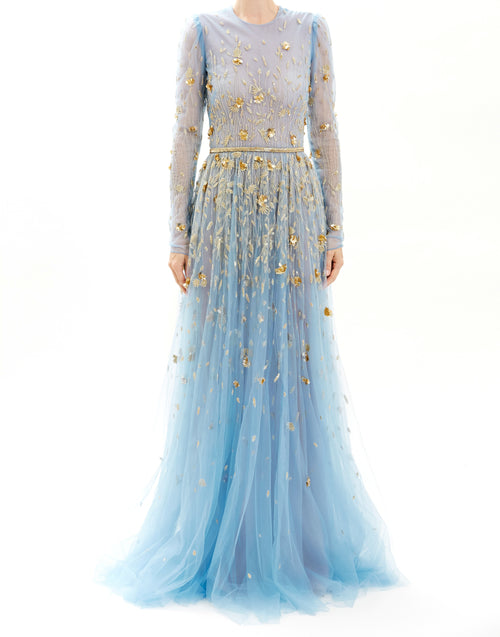 Mayan Blue Embroidered Long Sleeve Tulle Gown