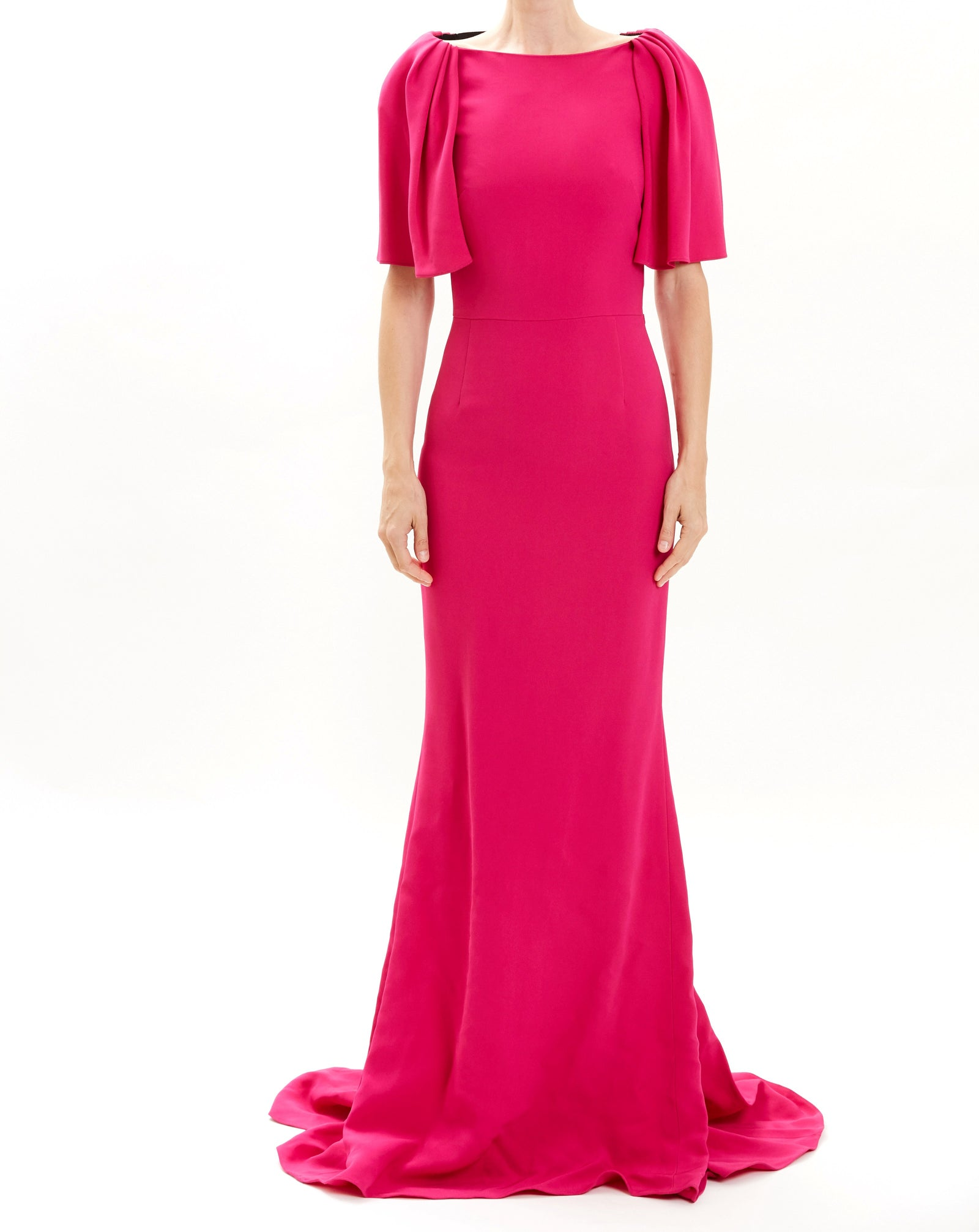 Fuschia Flutter Sleeve Crepe Gown