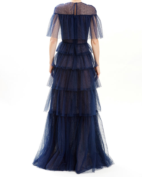 Midnight Swiss Dot Tulle Cape Gown