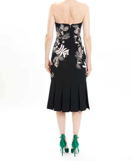 Black Embroidered Strapless Crepe Cocktail Dress