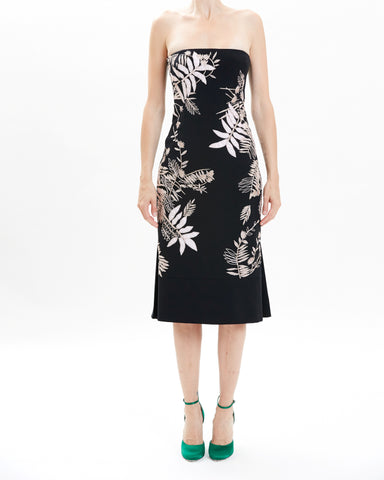 Leaf Lurex Cotton V-Neck Cocktail Dress