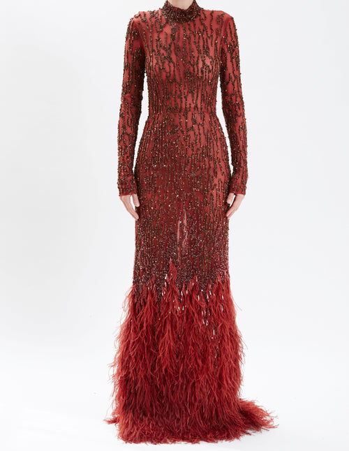 Pre-Order Sienna Embroidered Long Sleeve Gown With Feather Hem