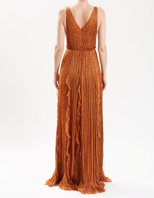 Pre-Order Terracotta Lurex Chiffon Hand-Pleated Gown With Ruffle Detail