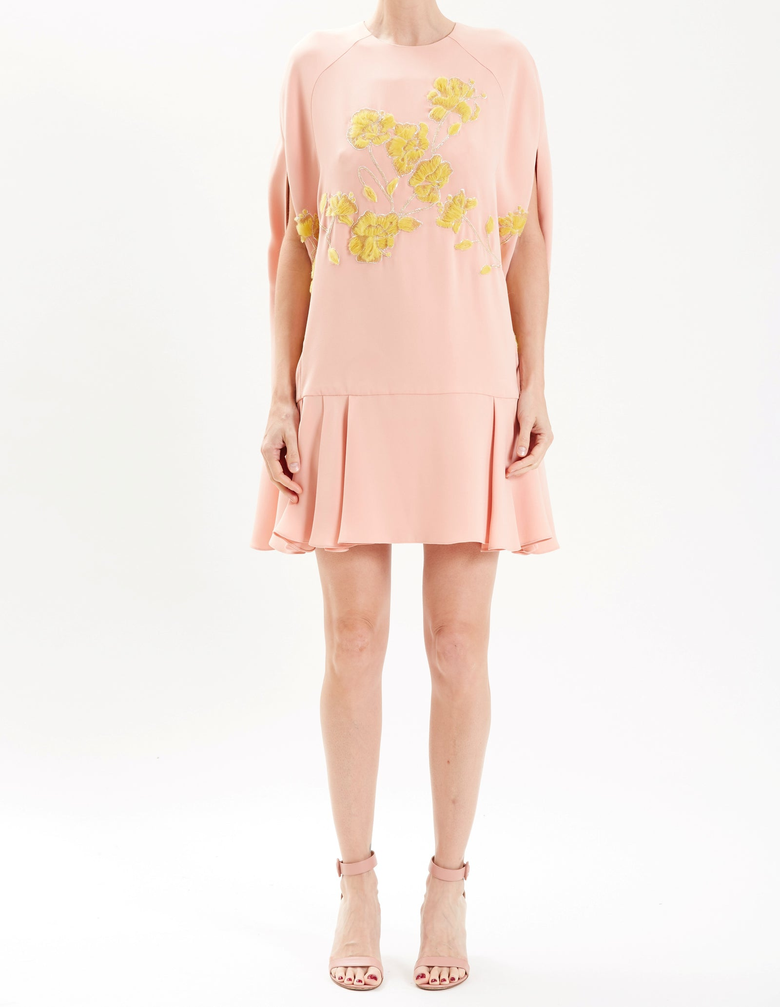 Rose Mini Cape Dress With Floral Embroidery