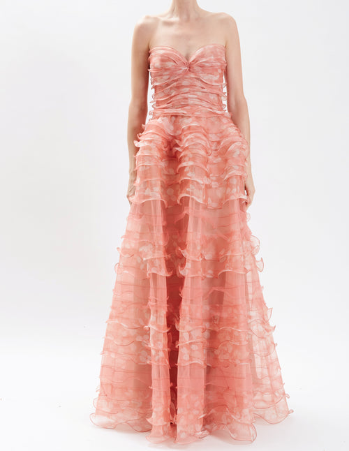 Cantaloupe Strapless Ruffled Organza Gown