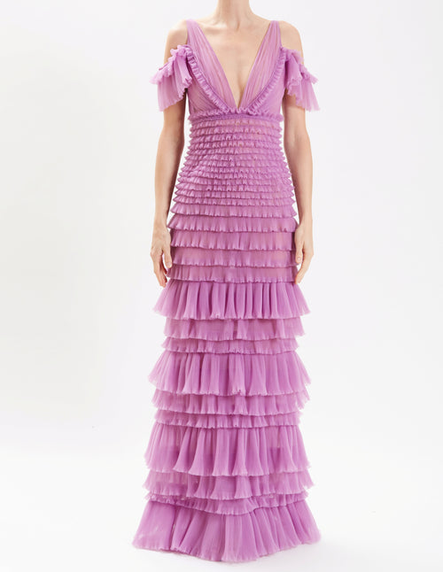 989915de6dbf Lavender Off The Shoulder Tiered Ruffle Gown