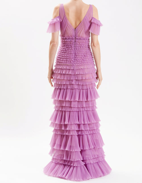 Lavender Off The Shoulder Tiered Ruffle Gown