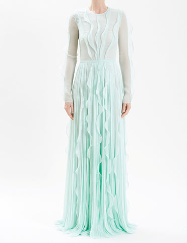 Terracotta Lurex Chiffon Hand-Pleated Gown With Ruffle Detail