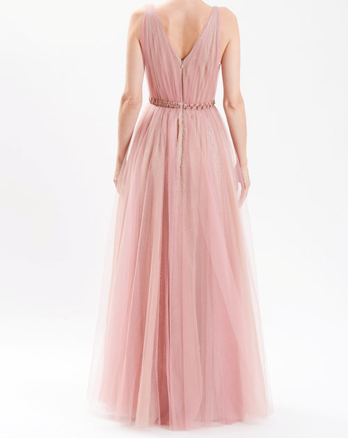 Dusty Pink V-Neck Sequined Gown With Tulle Overlay