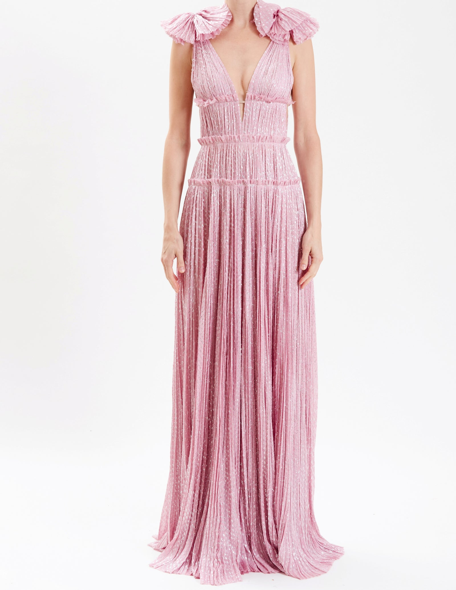 Lilac Hand-Pleated Lurex Plunging Gown