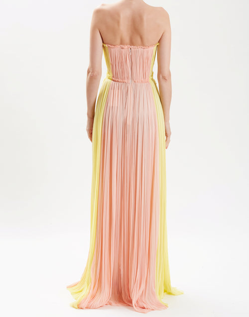 Dusty Pink Strapless Hand-Pleated Gown With Floral Embroidery