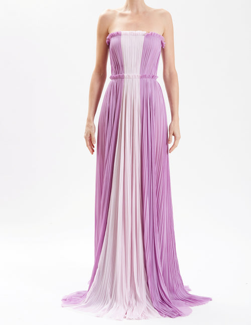 Lavender Strapless Hand-Pleated Gown