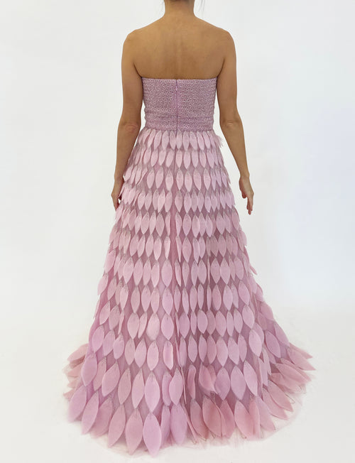 Peony Feathered Silk Gown
