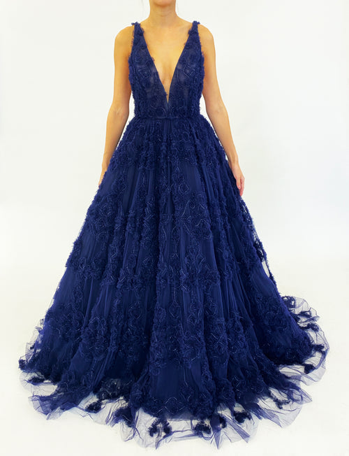 Navy Ruffled Tulle Gown