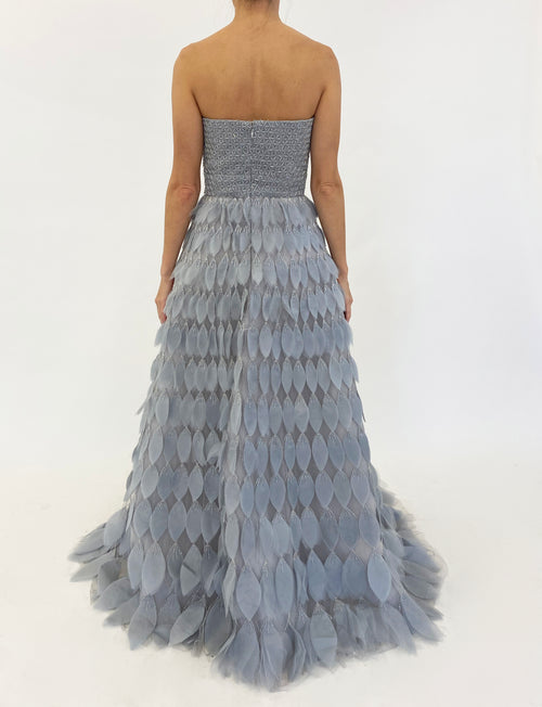 Dove Grey Feathered Silk Gown