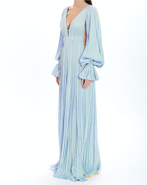Sky Blue Hand-Pleated Deep V-Neck Gown