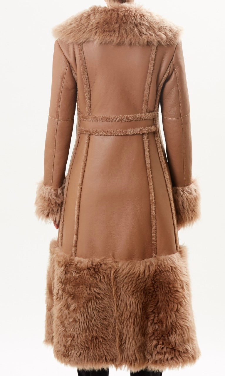 Camel Leather Shearling Coat