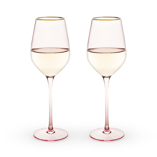 Garden Party: Rose Crystal White Wine Glass Set by Twine