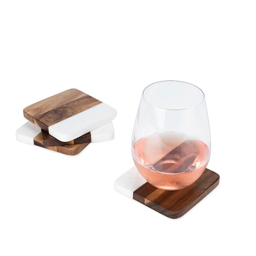 Rustic Farmhouse: Marble & Acacia Coaster Set by Twine