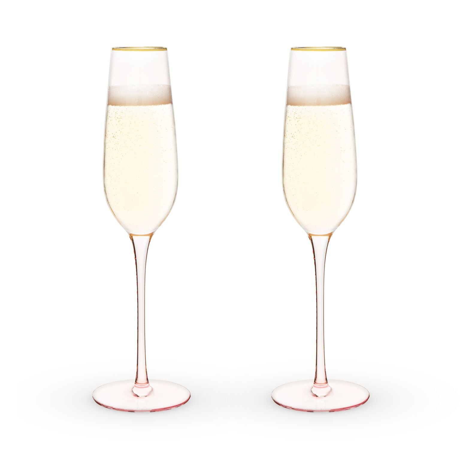 Garden Party: Rose Crystal Champagne Flute Set by Twine