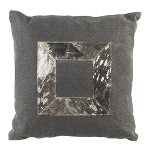 GRAYER METALLIC COWHIDE PILLOW