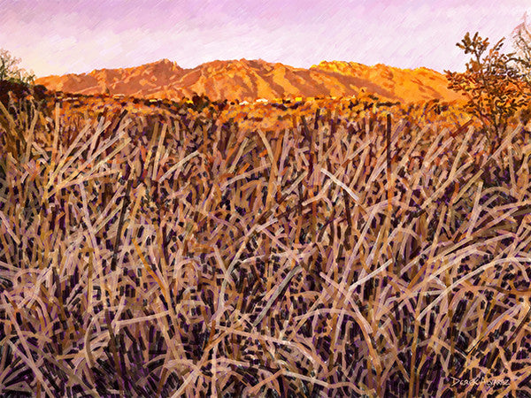 Catalina Mountains and Rillito - Pink and Gold - Original Limited Edition Landscape Painting by Derek Alvarez