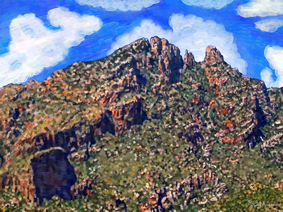 Close-Up of Santa Catalina Mountains - Original Limited Edition Landscape Painting
