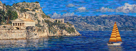 Corfu with Sailboat - Original Limited Edition Landscape Painting