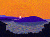 Sunset Ksamil, Albania - Original Limited Edition Landscape Painting by Derek Alvarez