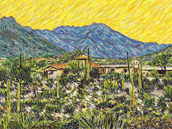 Sunset, Tucson Mountains - Original Limited Edition Landscape Painting