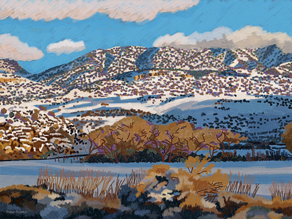 View of Ute Mountain from McElmo Canyon in the Winter - Original Limited Edition Landscape Painting by Derek Alvarez