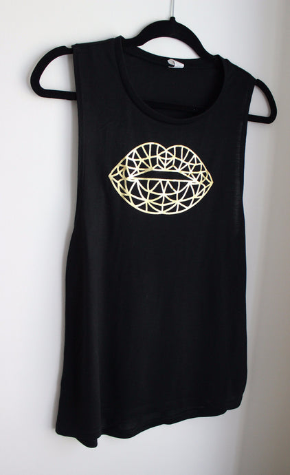 Gold Foil Signature Graphic Lip Tank