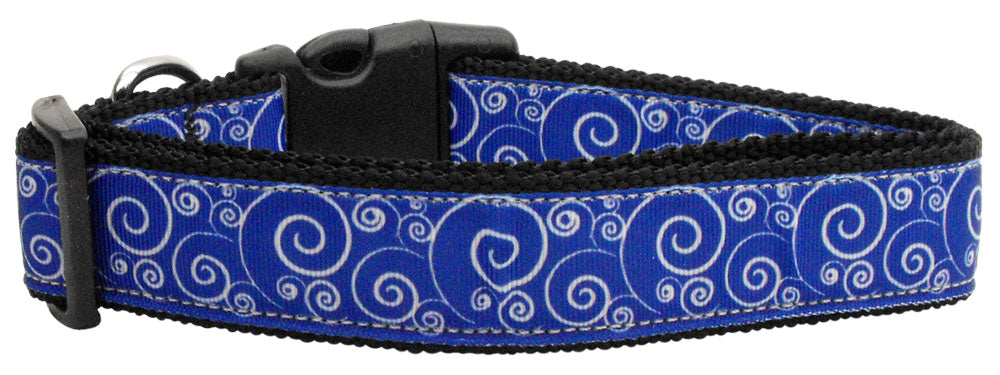Blue & White Swirly Ribbon Nylon Dog Collar