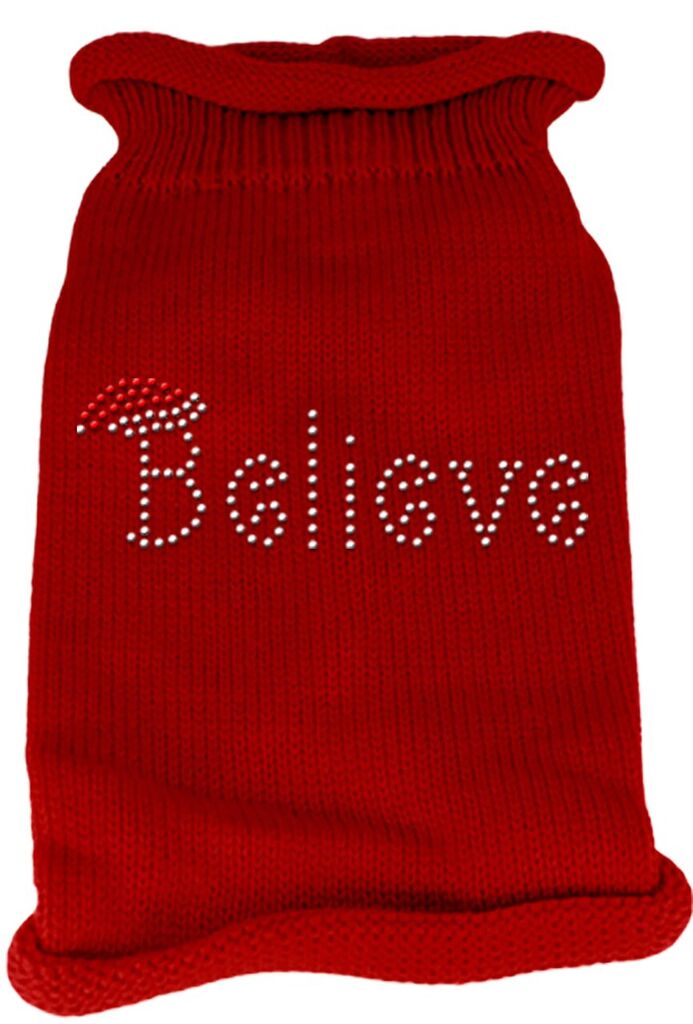 Rhinestone Knit Dog Sweater - Believe