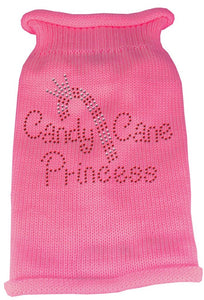 Rhinestone Knit Dog Sweater - Candy Cane Princess