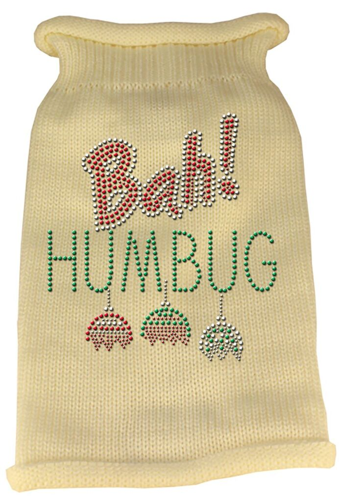 Rhinestone Knit Dog Sweater - Bah Humbug