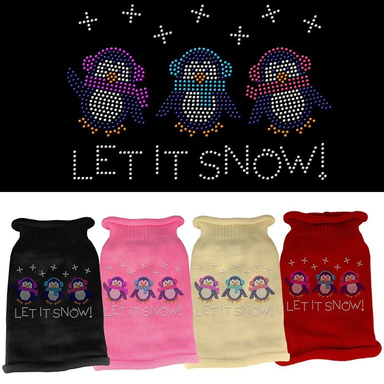 Rhinestone Knit Dog Sweater - Let It Snow